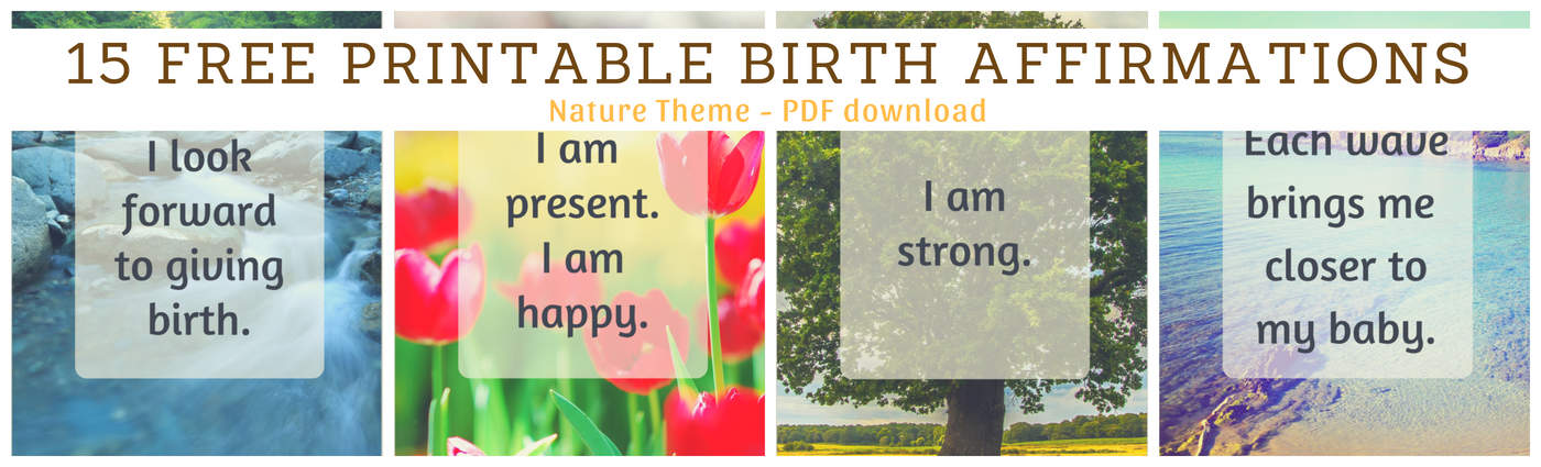 Birth Affirmations Button Nature Theme