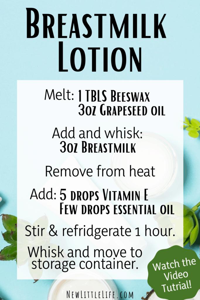 DIY breastmilk lotion recipe
