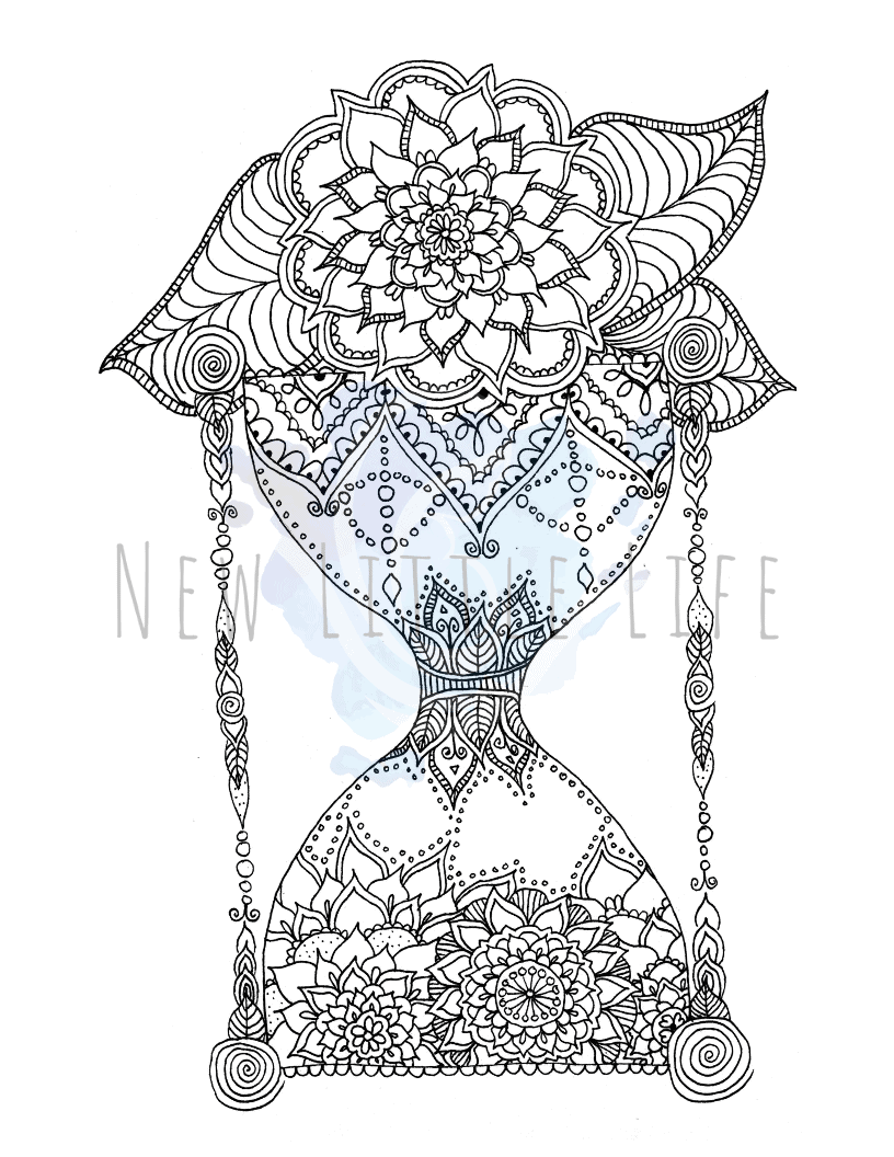 - Hourglass - Mandala Coloring Page - New Little Life