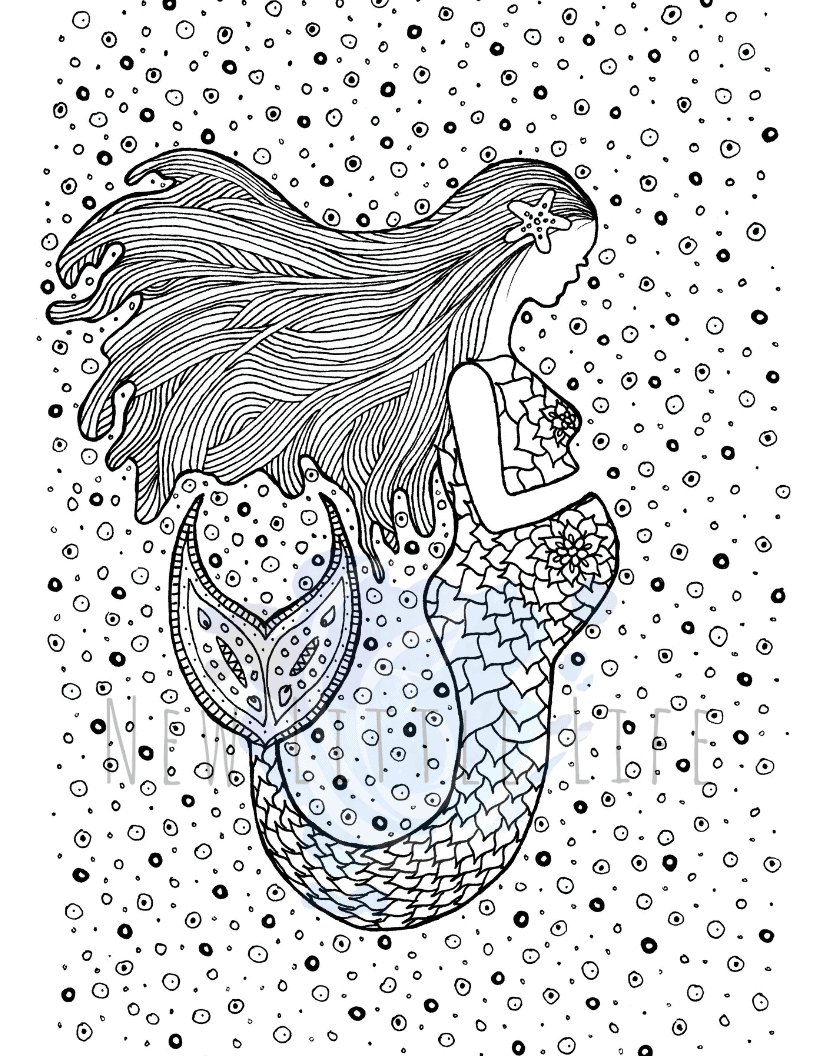 Free Printable Coloring Pages for Adults Mermaids Gallery ... | 1056x816