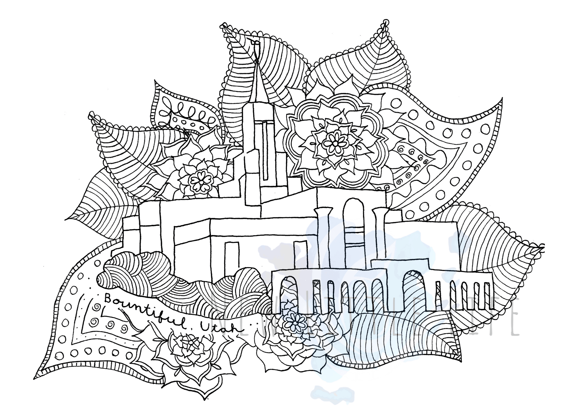 Bountiful, Utah LDS Temple - Coloring Page - New Little Life